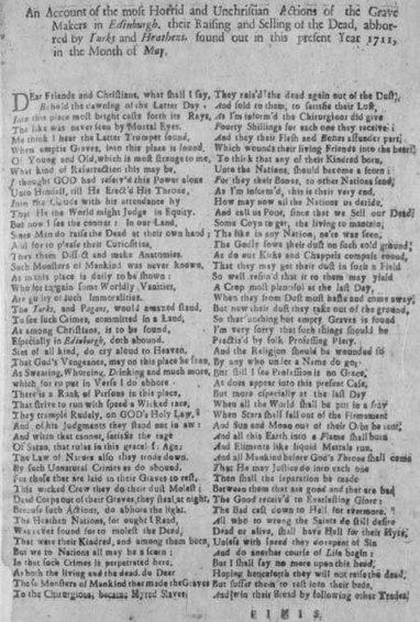 Broadside concerning body-snatching in Edinburgh in 1711 | British Genealogy | Scoop.it