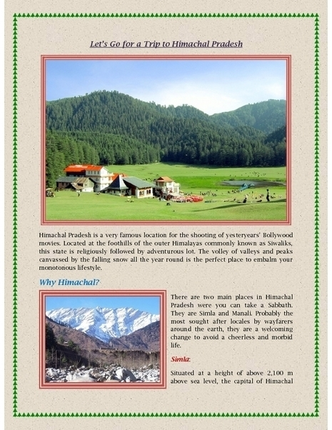 Let's Go for a Trip to Himachal Pradesh - PDF | Indian Tourism | Scoop.it