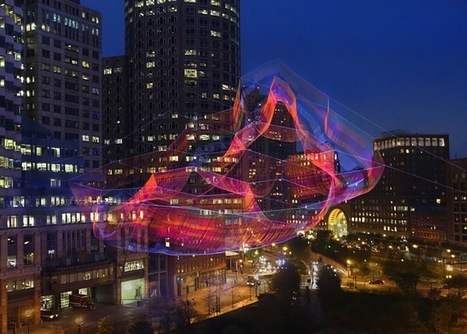 A Monumental #Sculpture of #Colourful #Twine #Netting Suspended Above #Boston. #art #installation | Luby Art | Scoop.it