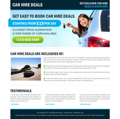 Car hire and car rental landing page design to promote your car rental website or business. | High Converting Landing Page Design Blog | bus rental | Scoop.it
