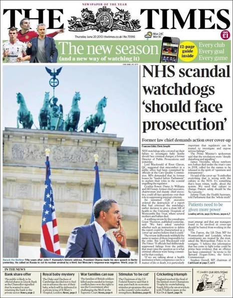 Today's English Newspapers Front-Pages - Thursday 20.06.13   AC Affairs   Scoop.it