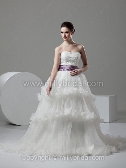 A-line Sweetheart Organza Elastic Woven Satin Chapel Train Tiered Wedding Dresses - www.millybridal.com | wedding and event | Scoop.it