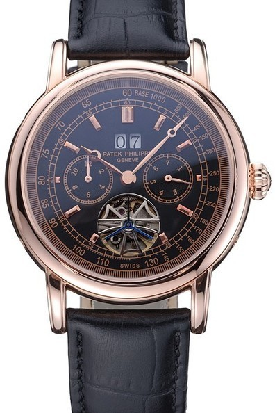 Replica Patek Philippe Geneve Grand Complications Black Dial Tourbillon Rose Gold Bezel Black Band-$285.00 | Men's & Women's Replica Watches Collection Online | Scoop.it