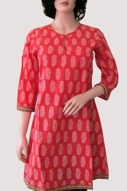 Red Cotton Printed Casual Kurti M-143C - NEW ARRIVALS | KURTIS | Scoop.it