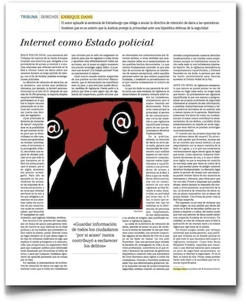 Internet como estado policial, colaboración en El Mundo | Activismo en la RED | Scoop.it