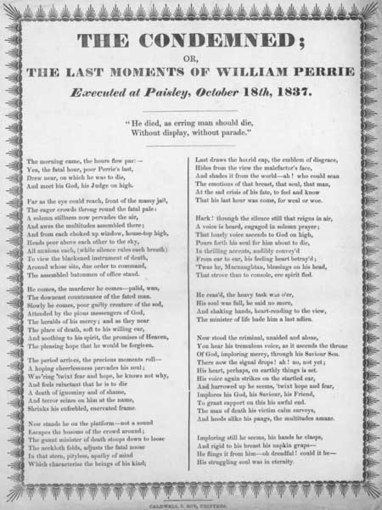 Broadside entitled 'The Condemned or, The Last Moments of William Perrie' | British Genealogy | Scoop.it