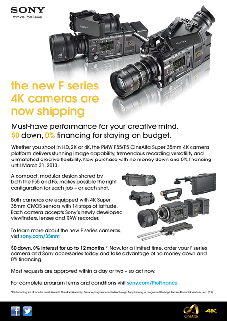 Sony Business Solutions & Systems - The new CineAlta 4K cameras are now shipping. $0 down. 0% financing. | Sony Professional | Scoop.it