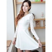 Lace Sleeve Skater Dress in White | Japanese Fashion | Scoop.it