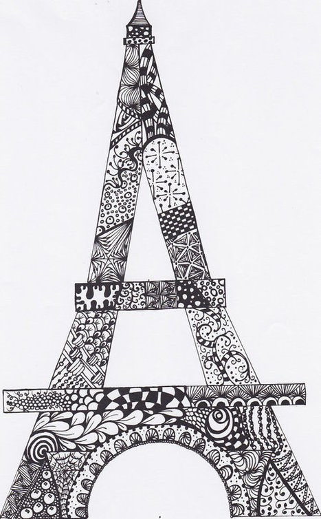 Zentangle Eiffel Tower Drawing Original Abtract PDF File for you to print, frame, color USE your imagination | Zentangle | Scoop.it