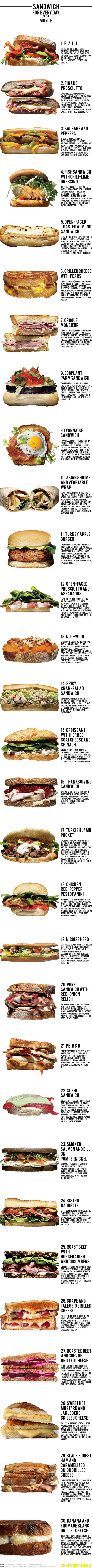 A sandwich for every day of the month. | Recipe collection | Scoop.it