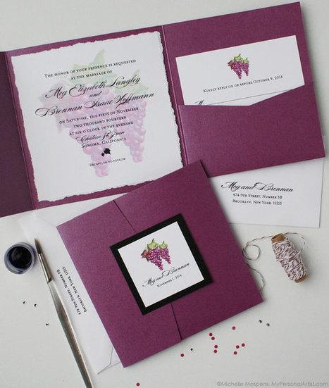 Painted Winery Grapes Folder Wedding Invitations   My Personal Artist   Autumn wedding ideas   Scoop.it