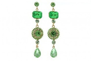 Green Crystal Green Glass Gold Tone Evening Earrings | Design | Scoop.it