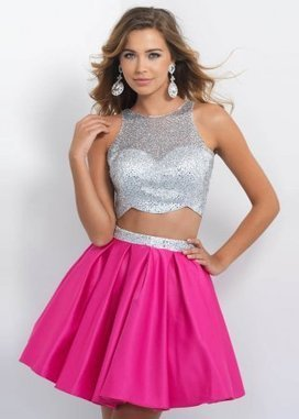 Sparkly Beaded Sleeveless Bodice Hot Pink 2-piece Style Homecoming Dress [Blush 10075 Hot Pink] - $226.00 : www.prom2015outlet.net | long prom dresses | Scoop.it
