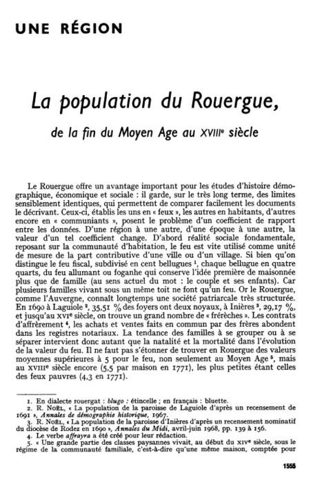 La population du Rouergue de la fin du Moyen Âge au XVIIIe siècle | Persée | Nos Racines | Scoop.it