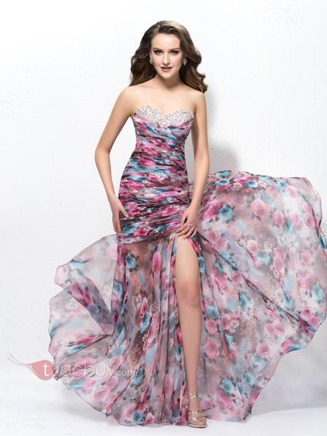 Mysterious Sweetheart Split Front Floral Imprint Sequins Trumpet Floor-Length Prom Dress | fashion girl | Scoop.it