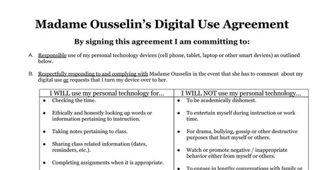 An example of a BYOD Digital Use Contract 2014 - Ousselin/Lenord | Strictly pedagogical | Scoop.it