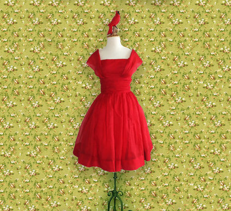 Vintage Party Dress, 50s Red Chiffon Formal Dress, Size Small | DustyDesert vintage | Scoop.it