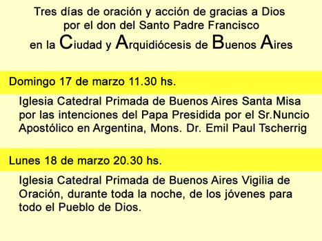 Celebraciones en Buenos Aires por el don del Santo Padre Francisco | Educación 2012 (2.0 y 3.0) | Scoop.it