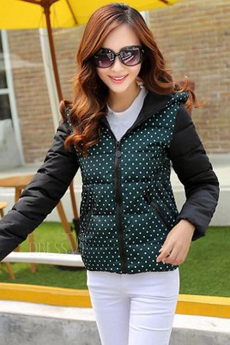 Polka Dot Zipper Pockets Cotton Overcoat | Dressve fashion | Scoop.it