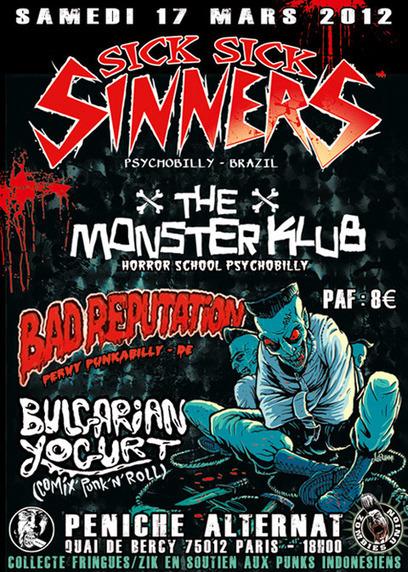Classe Contre Classe • Voir le sujet - Paris 17/03-Sick Sick Sinners-Monster Klub-Bad Reputation-BY | News musique | Scoop.it