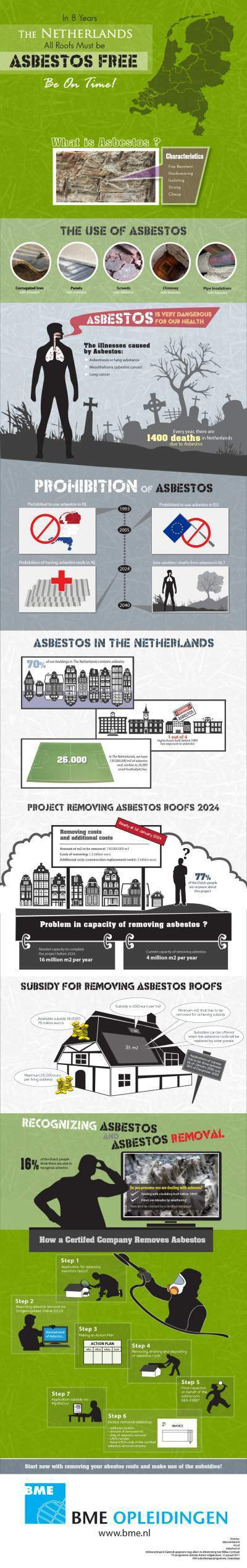 In 8 years - The Netherlands - All Roofs Must be Asbestos Free. Bee on Time! | Infographics | Scoop.it