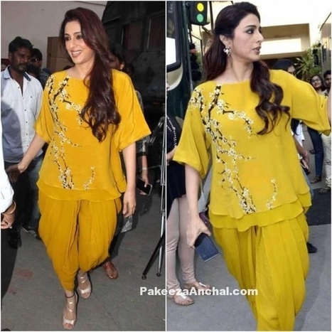 Actress Tabu in a Yellow Nikasha outfit promoting Fitoor | Indian Fashion Updates | Scoop.it