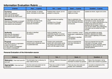 Information Evaluation Rubric | I'm for libraries! | Scoop.it