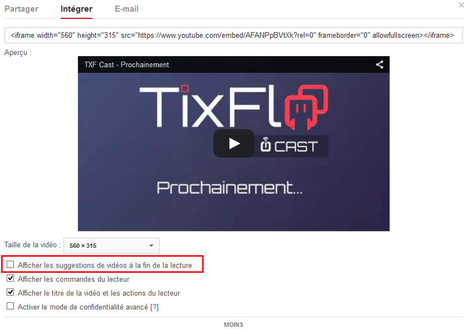 Intégrer une vidéo Youtube sans suggestion à la fin - TixFlo | Ressources pour les TICE en primaire | Scoop.it