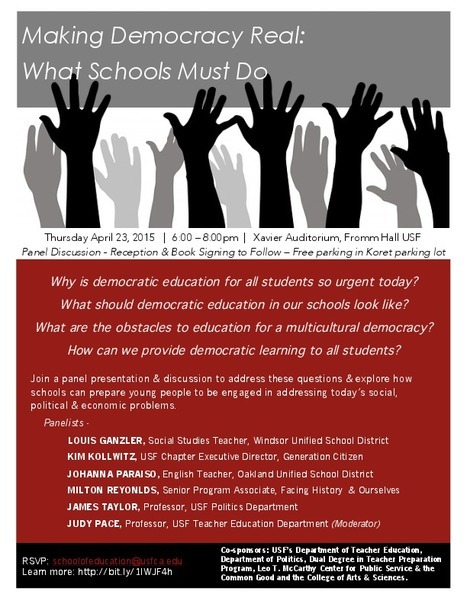 Tonight at USF: What Schools Must Do to Make Democracy Real   USF in the News   Scoop.it