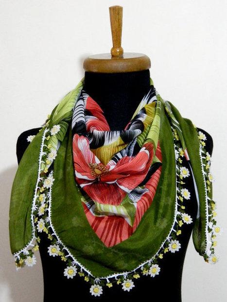 Green Multicolor  Turkish Yemeni OYA Scarf ..bridal,scarf,authentic, romantic, elegant, fashion, personalized design... by WomanStyleShop | women fashion | Scoop.it