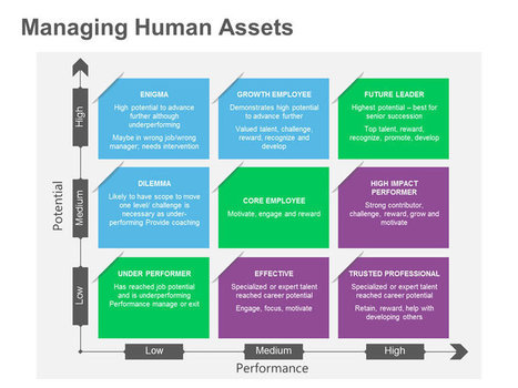 Managing Human Resources – Performance vs. Potential Matrix: Single Slide | PowerPoint Presentation Tools and Resources | Scoop.it