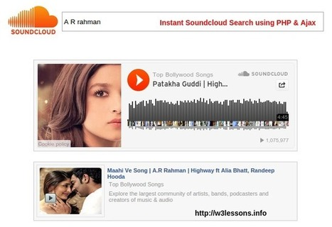 Instant Soundcloud Search using PHP & jQuery Ajax | W3lessons | Scoop.it