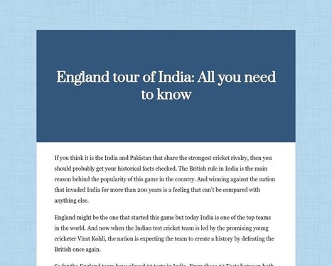 England tour of India:<br/>All you need to know - Tackk | India Finance | Scoop.it