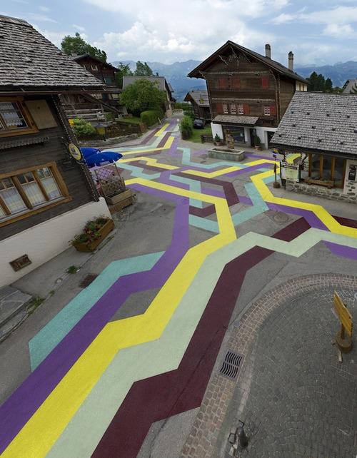 Geometric Street Painting Runs Through Switzerland Village - My Modern Metropolis
