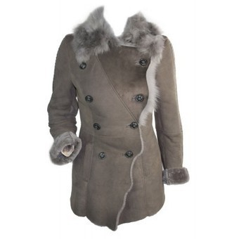 Ladies 100% Sheepskin Toscana Military Leather Winter Vintage Jacket Coat Grey | Womens Clothing | Scoop.it