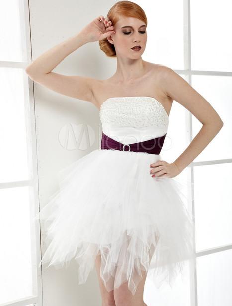 White Strapless Beaded Net Sash Cocktail Dress | Summer Dresses | Scoop.it
