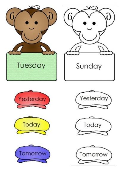 El Blog de Espe: Unos monos muy simpáticos, con los días de la semana en inglés, listos para imprimir. Algunas actividades. | Internet | Scoop.it