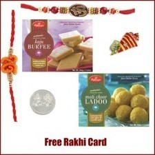 Haldiram Kaju Burfi Motichoor Ladoo Rakhi Pack - Send Rakhi to Canada   Rakhi Gifts to India, USA, UK, Canada, Australia   Scoop.it