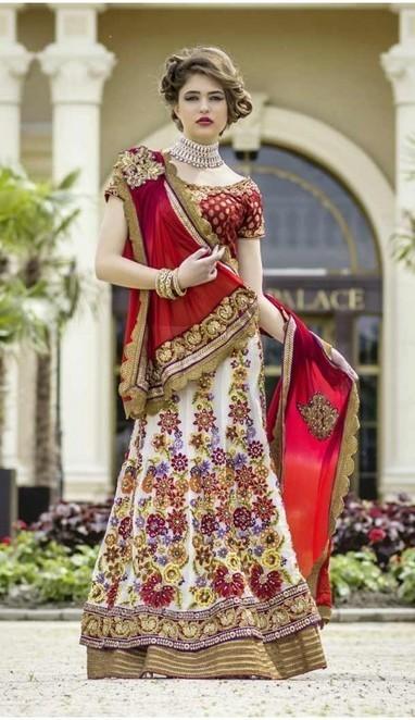 Melodic Off White Faux Georgette Bridal Lehenga Choli | fashionheena.com | Scoop.it