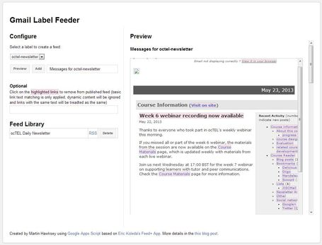 Creating a 'full fat' RSS feed for Google Gmail labels (enabling some dark social judo) | Google Apps Script | Scoop.it