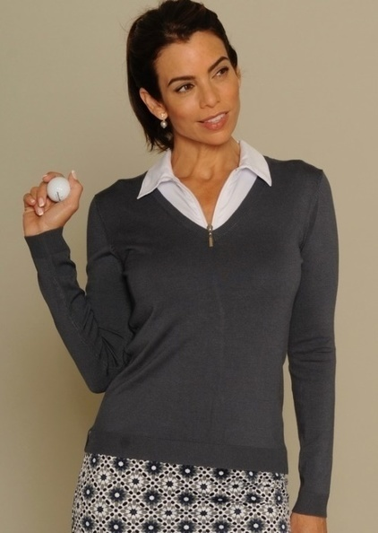 Golftini Ladies Long Sleeve V-Neck Sweaters - Grey | Golf Apparel | Scoop.it
