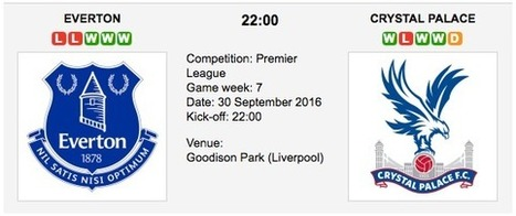Everton vs. Crystal Palace: Preview & Tips - 30/09/2016 EPL | ukbettips.co.uk | Scoop.it