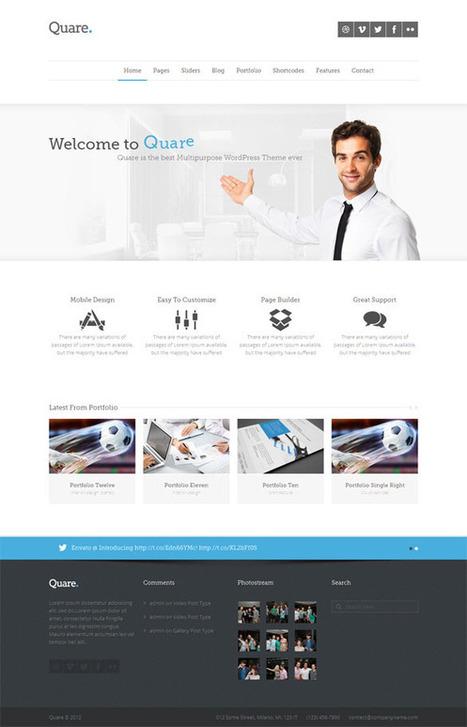 Quare, WordPress Responsive Multi-Purpose Theme | WP Download | web design | Scoop.it