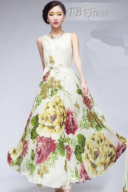 Attractive Sleeveless Nipped Waists Flowers Print Long Chiffon Dress   fashion numbleone   Scoop.it