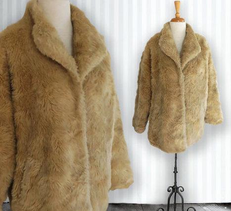 Vintage Shaggy Faux Fur Jacket, Tan Colored Faux Fur, 1960s Jacket, Size Small | DustyDesert vintage | Scoop.it