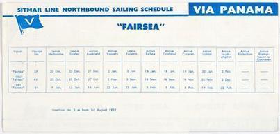 Leaflet - Northbound Sailing Schedule via Panama, MV Fairsea, Sitmar Line, circa 1959 - Museum Victoria | Faction | Scoop.it