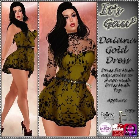 Daiana Gold Dress Teleport Hub Group Gift by It's Gau | Teleport Hub - Second Life Freebies | Second Life Freebies | Scoop.it