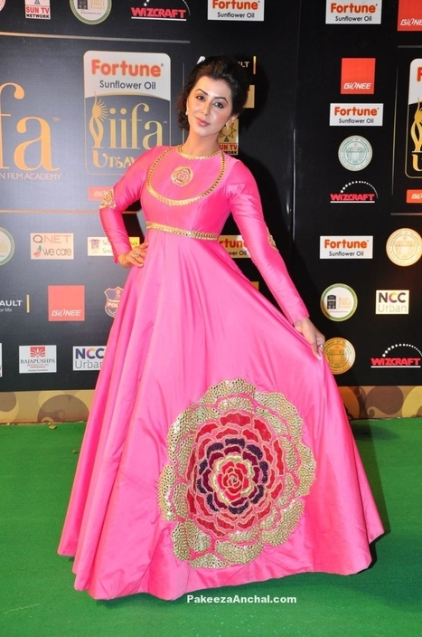 Nikki Galrani in Pink Full sleeved Long Dress by Poornima Indrajith | Indian Fashion Updates | Scoop.it