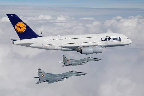 Bulgarian Mig-29s escort Lufthansa Airbus A380 arriving in Sofia for the first time | Airports, Airlines & Aircraft | Scoop.it