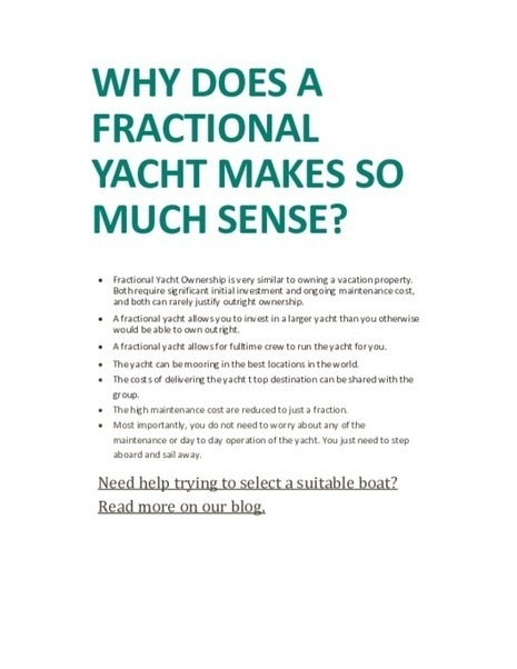 Why does a fractional yacht make so much sense - PDF | Fractional Ownership | Scoop.it